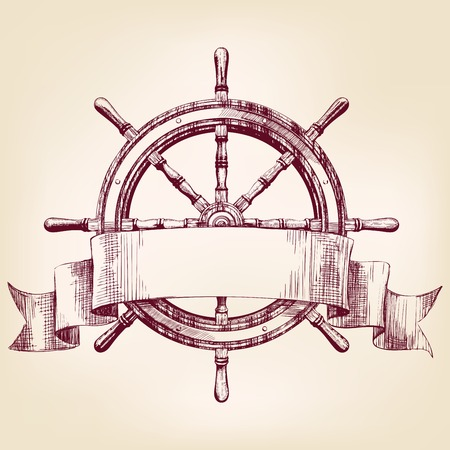 ship steering wheel vintage drawing vector illustration