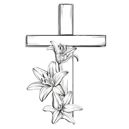 Illustration pour cross and floral blooming lilies, a symbol of Christianity hand drawn vector llustration sketch - image libre de droit