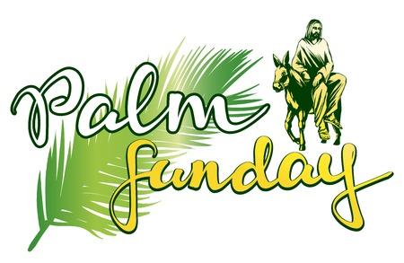 Illustration for palm Sunday, Jesus Christ rides on a donkey into Jerusalem , symbol of Christianity vector illustration sketch logo - Royalty Free Image