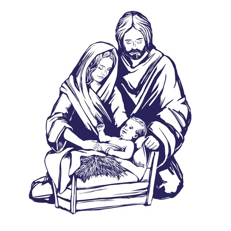 Illustration pour Christmas story. Mary, Joseph and the baby Jesus, Son of God , symbol of Christianity hand drawn vector illustration. - image libre de droit
