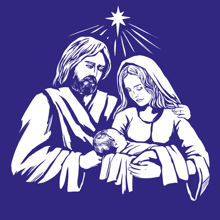Illustration for Christmas story. Mary, Joseph and the baby Jesus, Son of God , symbol of Christianity hand drawn vector illustration - Royalty Free Image