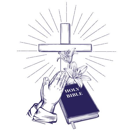 Illustration pour Praying Hands , Bible, gospel, crown of thorns, wooden cross. Easter . symbol of Christianity hand drawn vector illustration sketch - image libre de droit