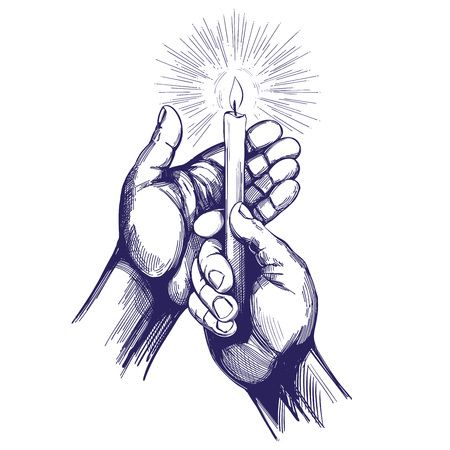 Illustration pour hand holds burning candle shines in the dark hand drawn vector illustration realistic sketch - image libre de droit