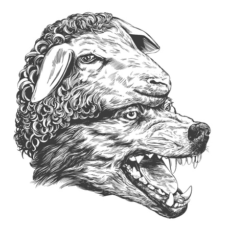 Ilustración de Wolf in sheep s clothing, Christian parable, hand drawn vector illustration realistic sketch - Imagen libre de derechos