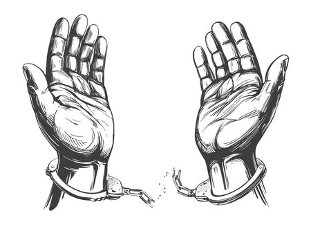 Illustration pour hands break the chain handcuffs, a symbol of freedom and forgiveness icon hand drawn vector illustration sketch - image libre de droit