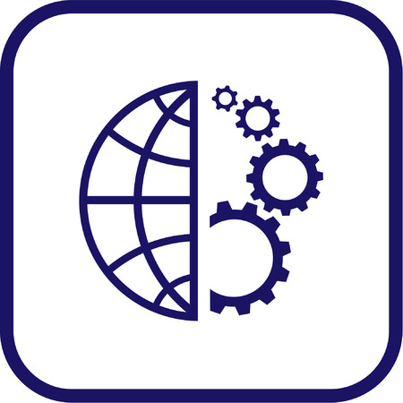 Vector globe and gear icon. Simply change.
