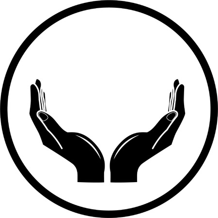 Vector hands icon. Black and white. Simply change.