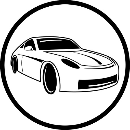 Vector Car Icon Black And White Simply Change Royalty Free