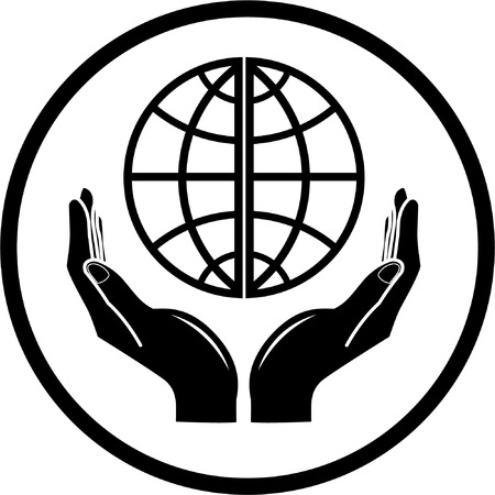 Vector globe in hands icon. Black and white. Simply change.