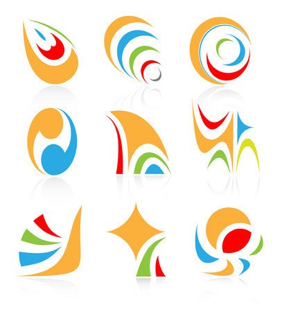 Vector abstract internet icons  Orange set  Simply change