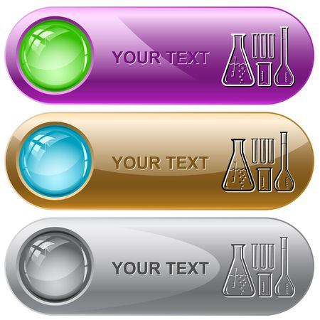 Chemical test tubes. internet buttons.