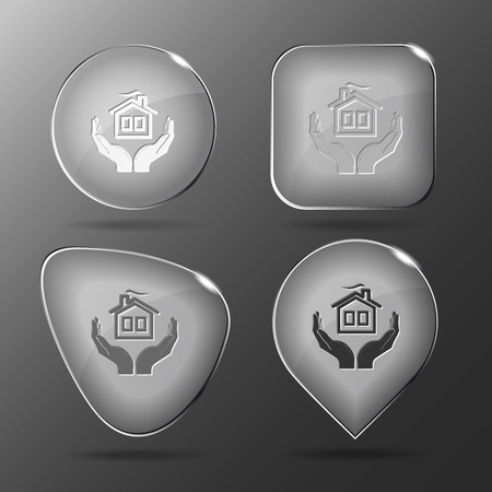 comfort in hands. Glass buttons. Vector illustration.