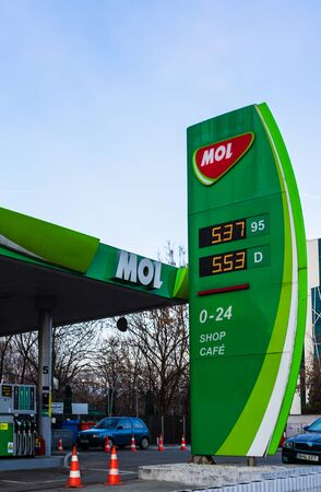 A Hungarian MOL gas station. MOL is Central Europe's largest oil and natural gas retailer and wholesaler. Bucharest, Romania, 2020