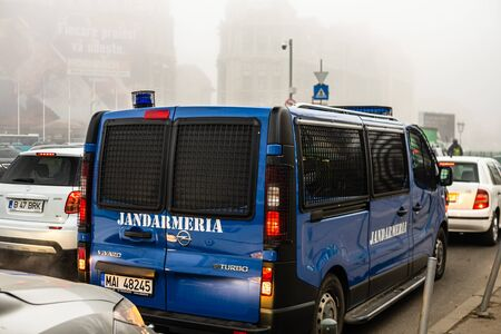 Photo pour Gendarmerie (Jandarmeria) unit cars, military police, Romanian special forces. Concept of protection and security, cars parked in Bucharest, Romania, 2020 - image libre de droit