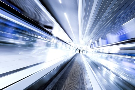 high-speed moving escalator
