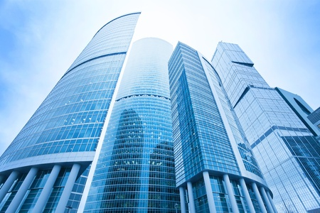 futuristic structure of office skyscrapers in the morning, wide angle view