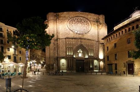 Main facade of Santa Maria del Pi at night -- is a 14th century Gothic church in Barcelona, Catalonia, Spain