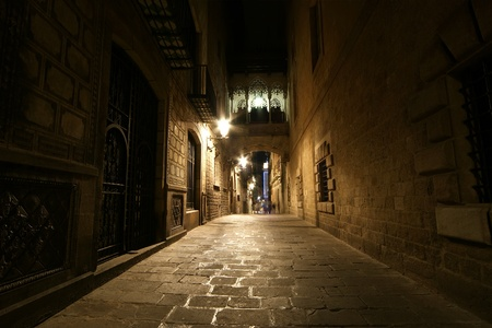 Gothic quarter at night. Empty alleyways in Barcelona