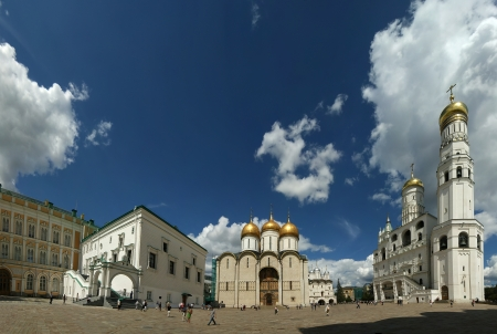 Cathedral Square or Sobornaya Square is the central square of the Moscow Kremlin  panorama , Russia
