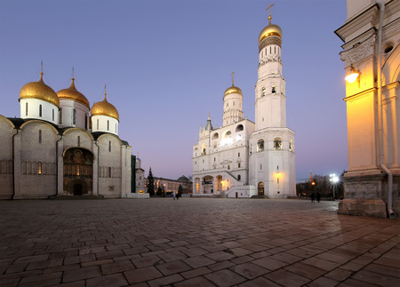 Ivan the Great Bell-Tower complex at night. Cathedral Square, Inside of Moscow Kremlin, Russia. UNESCO World Heritage Site