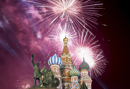 Fireworks over the Cathedral of Intercession of Most Holy Theotokos on the Moat ( Temple of Basil the Blessed), Red Square, Moscow, Russia