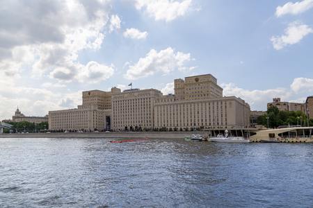 Main Building of the Ministry of Defence of the Russian Federation (Minoboron), day-- is the governing body of the Russian Armed Forces and Moskva River. Moscow, Russia