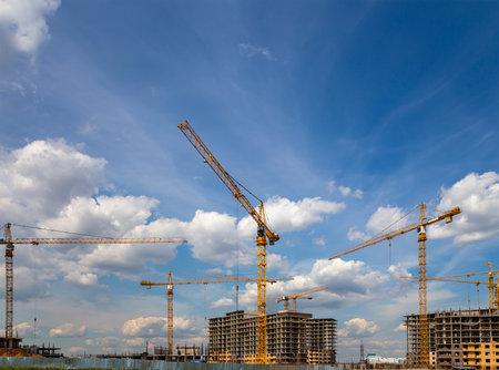 Foto de View of construction site, industrial image. Moscow, Russia - Imagen libre de derechos