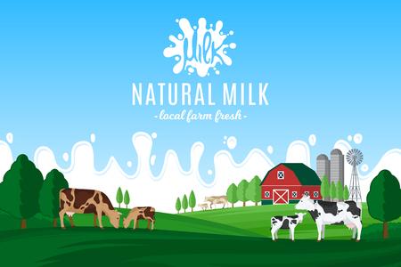 Vektor für Vector milk illustration with milk splash. Summer rural landscape with cows, calves and farm. - Lizenzfreies Bild
