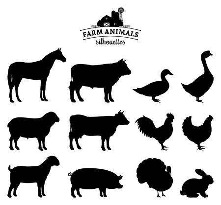 Foto de Vector farm animals silhouettes isolated on white. - Imagen libre de derechos
