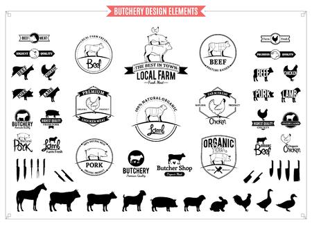 Ilustración de Butchery logo, labels, charts and design elements. - Imagen libre de derechos