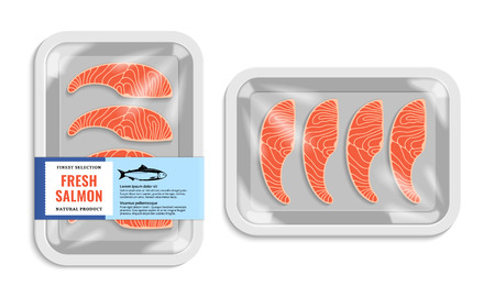 Illustration pour Vector salmon packaging illustration. White foam tray with plastic film mockup. Modern style fish label. - image libre de droit