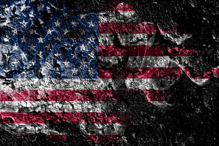 Photo for United States smoky mystical flag on the old dirty wall background - Royalty Free Image