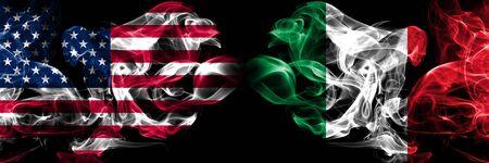 Foto de United States of America, USA vs Italy, Italian background abstract concept peace smokes flags. - Imagen libre de derechos