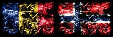 Photo pour Romania, Romanian, Norway, Norwegian sparkling fireworks concept and idea flags - image libre de droit