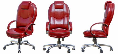Leather office chair with armrests. 3D render isolate illustration set