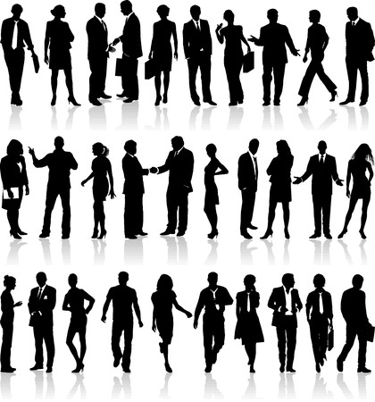 Large set of silhouettes of business people