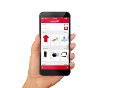 Photo pour Smart phone online shopping in woman hand isolated. Buy clothes shoes accessories with e commerce web site - image libre de droit