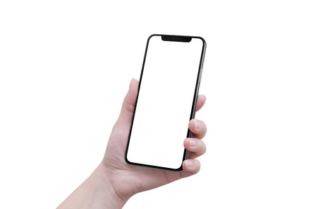 Photo pour Isolated woman hand with modern smartphone with blank x curved screen. - image libre de droit