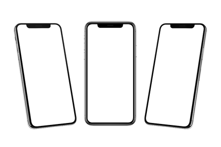 Photo pour Multiple smart phones with x curved screen in front, left and right side position. - image libre de droit