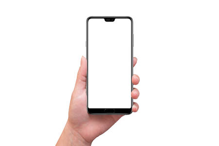 Photo pour Isolated modern smart phone with tooth on screen in woman hand. - image libre de droit