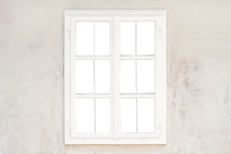 Photo pour Isolated glass, inner of window frame on old rustic wall - image libre de droit