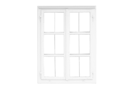 Foto de Isolated window frame on white. Old traditional white window - Imagen libre de derechos