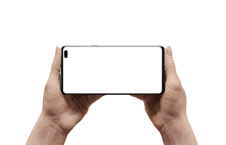 Photo pour Modern smart phone in woman hand. Isolated background and screen for mockup. Horizontal position for promote design of games, apps nad movies. - image libre de droit