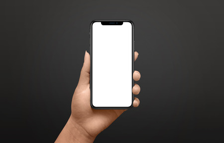 Photo for Modern phone mockup in woman hand. Black background. - Royalty Free Image