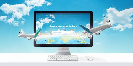 Foto de Holiday booking online. Concept of modern travel agency web site with famous world sights and airplanes that come out of the display. - Imagen libre de derechos