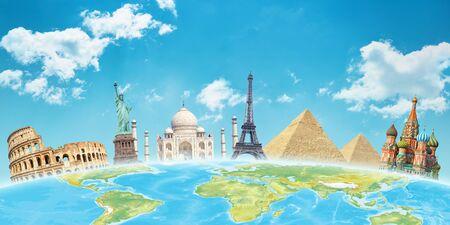 Foto de World attractions behind the globe. Travel concept. - Imagen libre de derechos