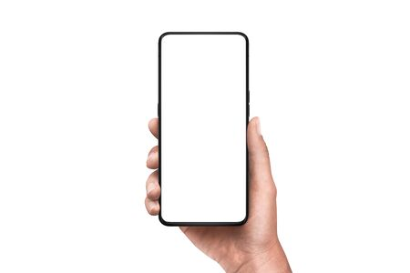 Foto de Modern smart phone in hand. Isolated background and screen. Thin edges od smartphone without a camera - Imagen libre de derechos
