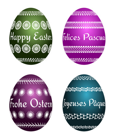 four vector Easter eggs with text Happy Easter in four languages EN, ES, DE, FR. Isolated easter set.
