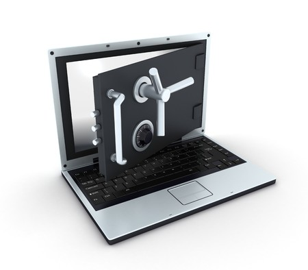 Photo pour Abstract laptop safe (isolated, done in 3d)    - image libre de droit