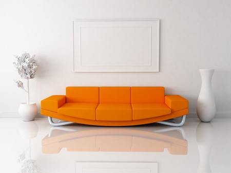 Orange sofa in white room (done in 3d)